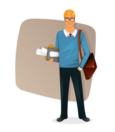 arquitecto caricatura: Ilustraci�n del vector del car�cter del hombre de Arquitecto