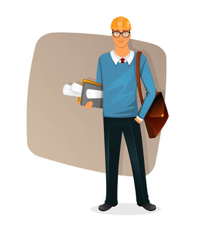 Vector illustration of Architect man character image Иллюстрация