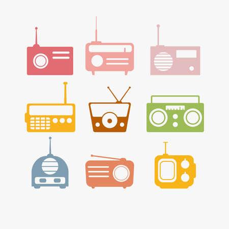 izole nesneleri: Radyo Vektör illüstrasyon nesneleri ayarlamak izole