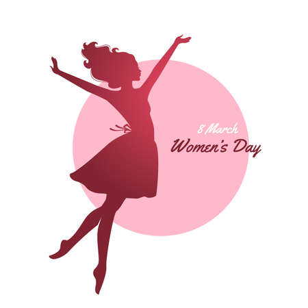 woman face: Vector illustration of Happy Women Day pink background
