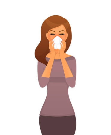 tonsillitis: Vector illustration of Sick woman character image