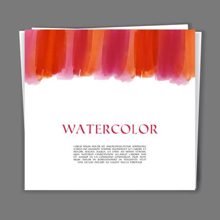 coloured background: Vector illustration of Card with Hand painted watercolor texture