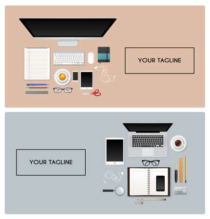 mouse pad: Vector illustration of Workplace with isolated objects