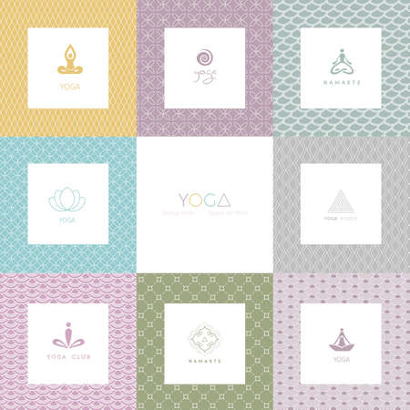 namaste: Vector illustration of Set of logos and patterns for a yoga studio Illustration