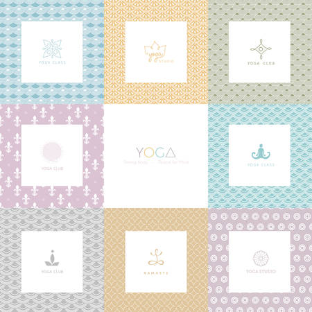 health spa: Vector illustration of Set of logos and patterns for a yoga studio Illustration