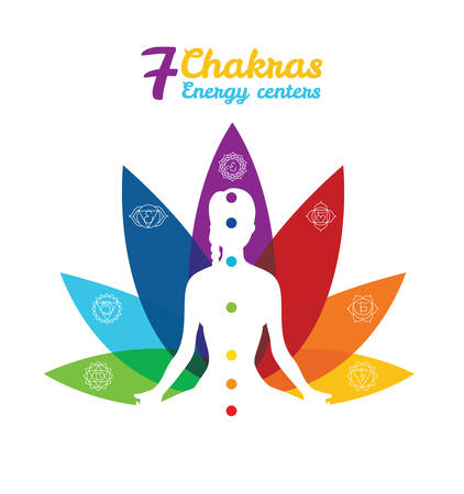 chakra symbols: Vector illustration of Color chakras with woman