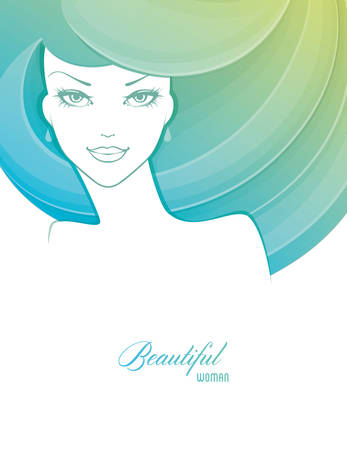 face  profile: Vector illustration of Beautiful and young woman