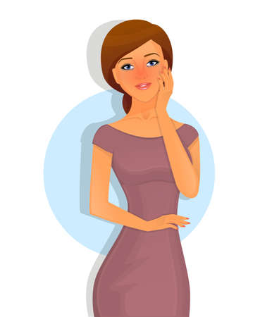 sick malady: Vector illustration of Sick woman character image