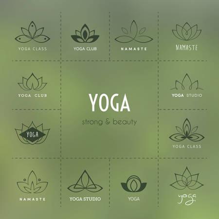 flor de loto: Ilustración del vector de Conjunto de iconos para un estudio de yoga