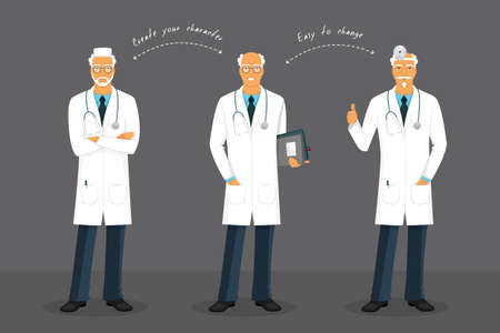 stethoscope boy: Vector illustration of Old doctor in various poses