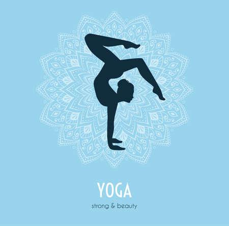 pose: Vector illustration of Woman doing yoga asanas Illustration