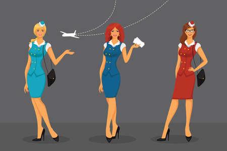 crew: Vector illustration of Girl in stewardess uniform Illustration
