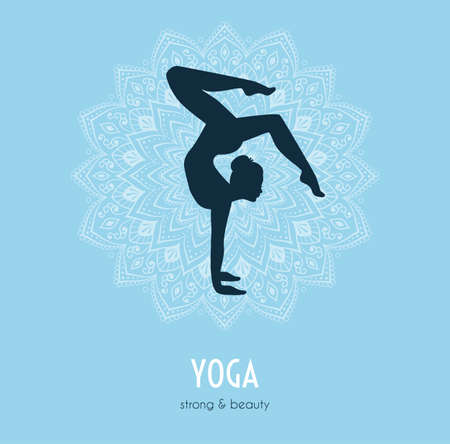 asanas: Vector illustration of Woman doing yoga asanas Stock Photo