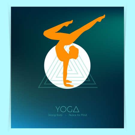 asanas: Vector illustration of Woman doing yoga asanas, flyers Stock Photo