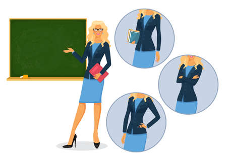 lecture hall: Vector illustration of Female teacher with blackboard
