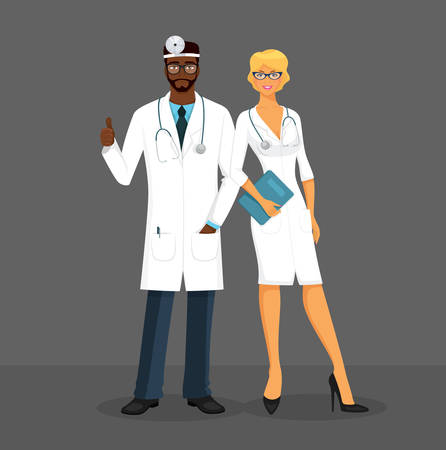 stethoscope boy: Vector illustration of Man and woman doctors
