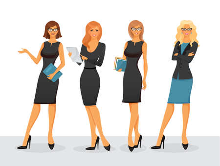 teacher classroom: Vector illustration of Businesswoman in various poses