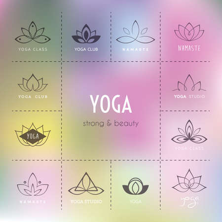 flower logo: Vector illustration of Set of logos for a yoga studio
