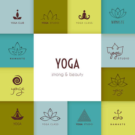 namaste: Vector illustration of Set of logos for a yoga studio