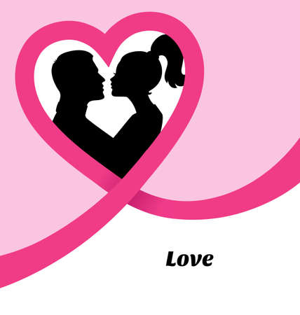 male: Vector illustration of Couples silhouette kissing image