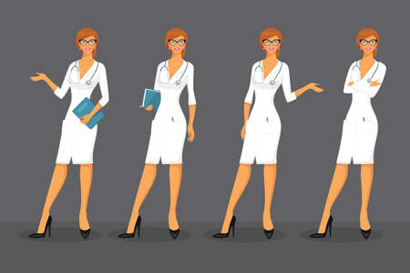 analyzing: Vector illustration of Woman doctor in various poses