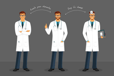 stethoscope boy: Vector illustration of Man doctor in various poses