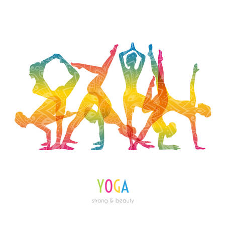 Vector illustration of Woman doing yoga asanas Illustration