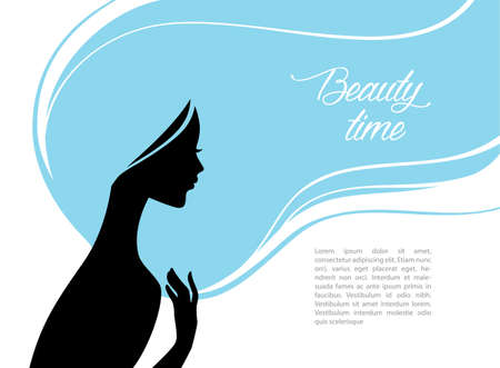 hair and beauty: Vector illustration of Beautiful and young woman