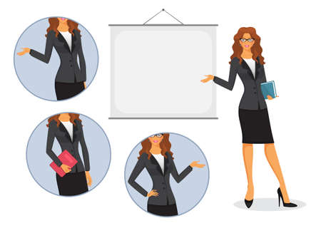 instructor: Vector illustration of Female teacher with board