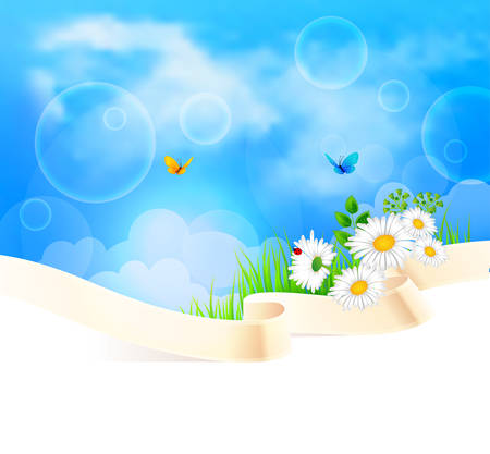 summer sky: Vector illustration of Summer background with grass