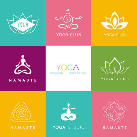 namaste: Vector illustration of Logo for a yoga studio