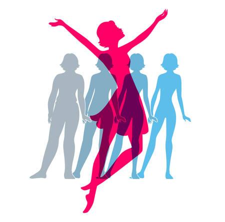Ilustración vectorial de Be, imágenes silueta de la mujer fit