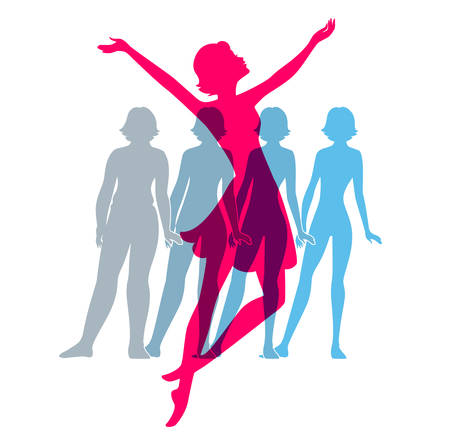 fit: Vector illustration of Be fit, woman silhouette images Illustration