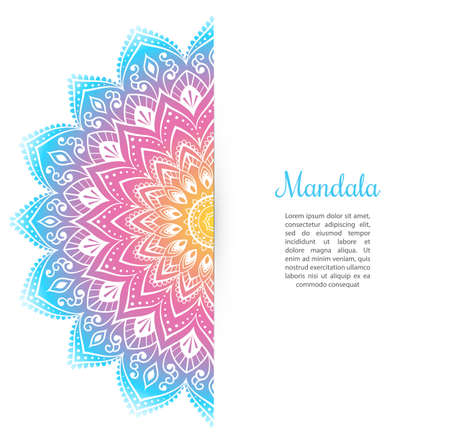 Vector illustration of Color Mandala background template Stock Illustratie