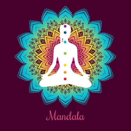 kundalini meditation: Vector illustration of Color chakras with woman