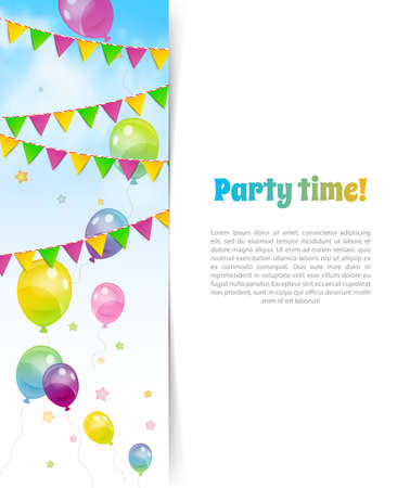 ballons: Vector illustration of Party banner with flags and ballons