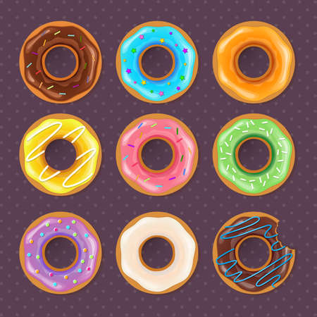 cartoons sweet: Vector illustration of Colorful donuts sweet set