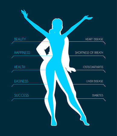 weightloss: Vector illustration of Be fit, woman silhouette images Illustration