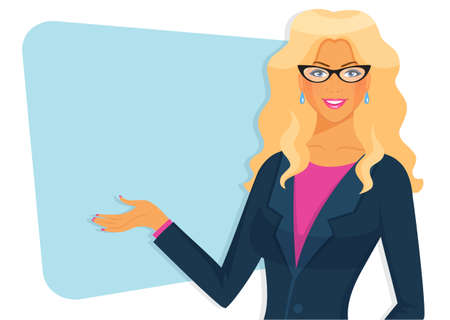 lecture hall: Vector illustration of Female teacher with board