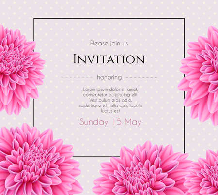 aster: Vector illustration of Wedding invitation with beautiful aster flower