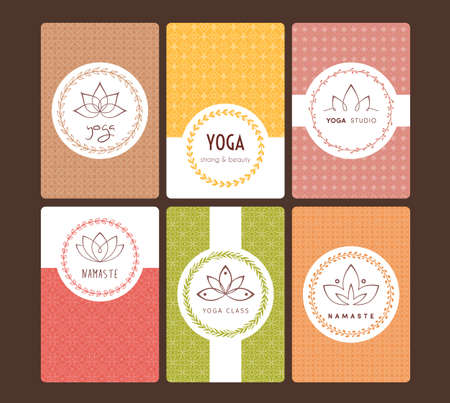 Vector illustration of Set of logos and patterns for a yoga studio Illustration