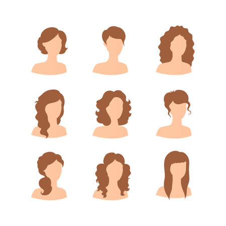 hair style: Vector illustration of Different hair style for woman Illustration