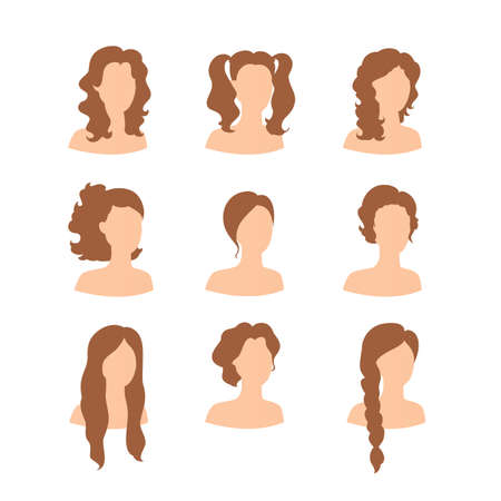 sexy brunette woman: Vector illustration of Different hair style for woman Illustration