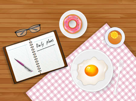 limon: Vector illustration of Tasty breakfast with tea and egg