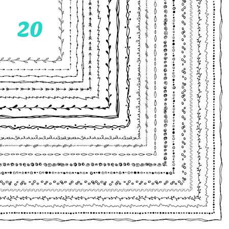 handdrawn: Vector illustration of Decorative frames 20 set