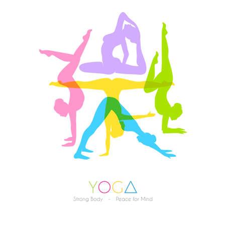 gente bailando: Ilustración vectorial de Mujeres que hacen asanas del yoga