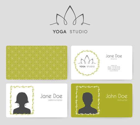 namaste: Vector illustration of  business cards for yoga studio