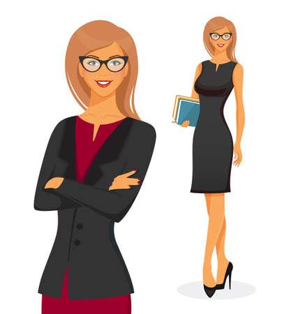 maestro: Ilustración vectorial de la empresaria en vestido rojo