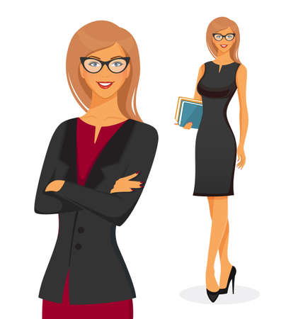 teacher classroom: Vector illustration of Businesswoman in red dress