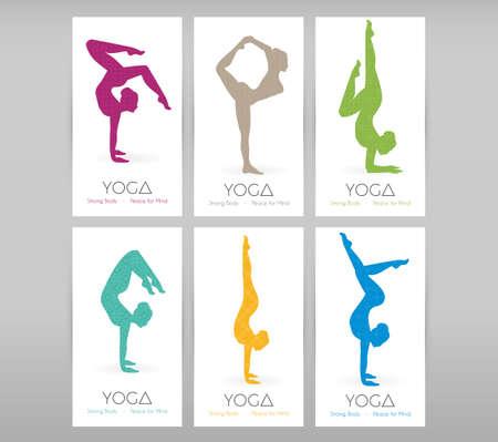 pies bailando: Ilustración vectorial de Mujeres que hacen asanas del yoga